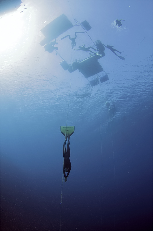 Linda during a record dive to 78m. Photo credit Jacques de Vos