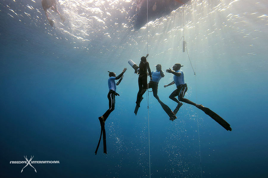 3 divers providing safety in freediving